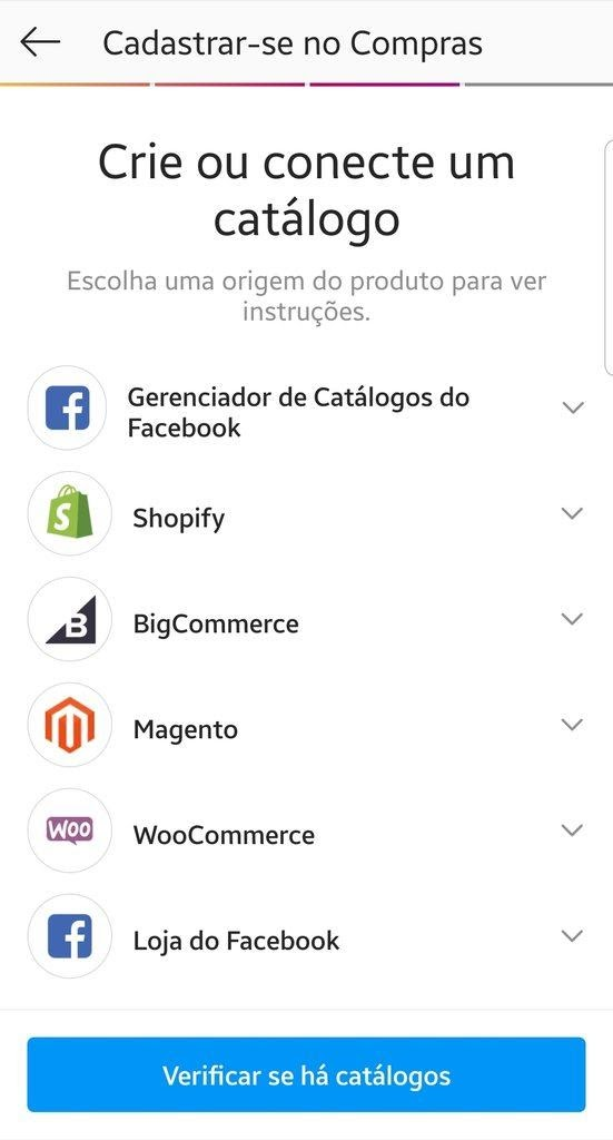 Criar catálogo instagram shopping