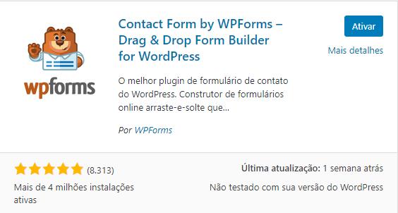 plugin para formulário WPForms - Drag & Drop