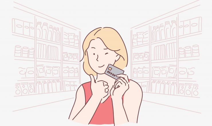 Shopping, profitable, advertising, unlimited concept. Young beautiful happy woman ready to buy in a boutique or shop. Cute business girl promotes ladies, offers banking services, credit. Vector flat design.